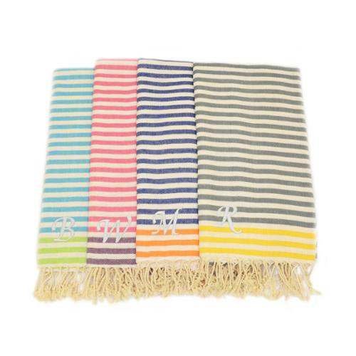 Authentic Hotel and Spa Authentic Pestemal Fouta Stripe Monogrammed Turkish Cotton Bath/ Beach Towel