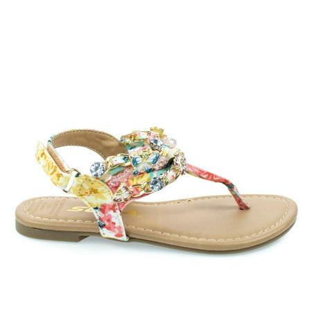 (BonziIIs by Soda, Little Girl's Floral Printed Flat Thong Sandal w Butterfly & Jewel)