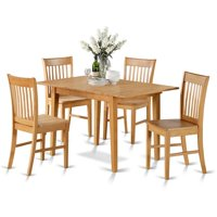 East West Furniture NOFK5-OAK-W Dining Tables for Small Spaces & 4 Chairs, Oak