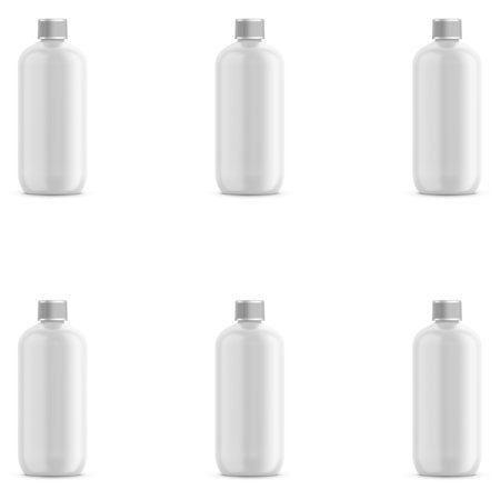 White PET Plastic Bottle - Oval 360 ml (12 oz) - 24/410 Neck - with White Plastic Threaded Cap and Induction Seal - -
