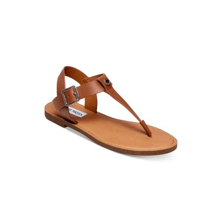 Steve Madden Womens Skylar Leather Open Toe Casual Slide Sandals