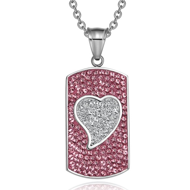 Magic Heart Austrian Crystals Amulet Love Energy Rose Pink and White Dog Tag Pendant 18 Inch Necklace