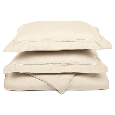 Superior Light Weight and Super Soft Brushed Microfiber, Wrinkle Resistant Duvet Cover with 2-Line Embroidered Pillow Shams