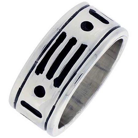 Indian Ring Designs (Sterling Silver American Indian Pattern Ring Southwestern Design Handmade 3/8 inch)