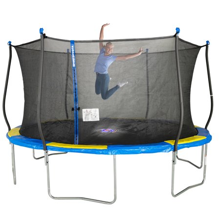 Bounce Pro 14-Foot Trampoline, with Classic Enclosure and Flashlight Zone, Blue/Yellow