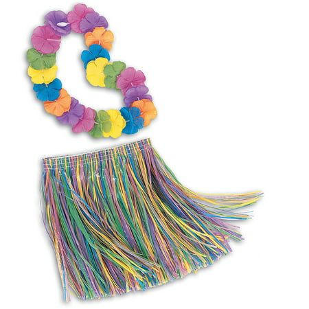 Children's Lei and Grass Skirt Hula Set, 2pc - Kids Hula Skirt