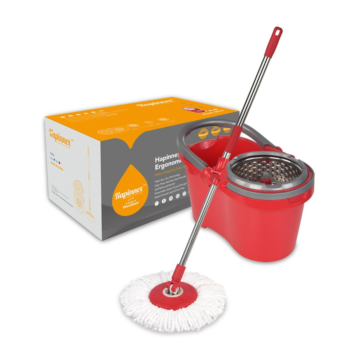Hapinnex Spin Mop & Self-Balanced Bucket System