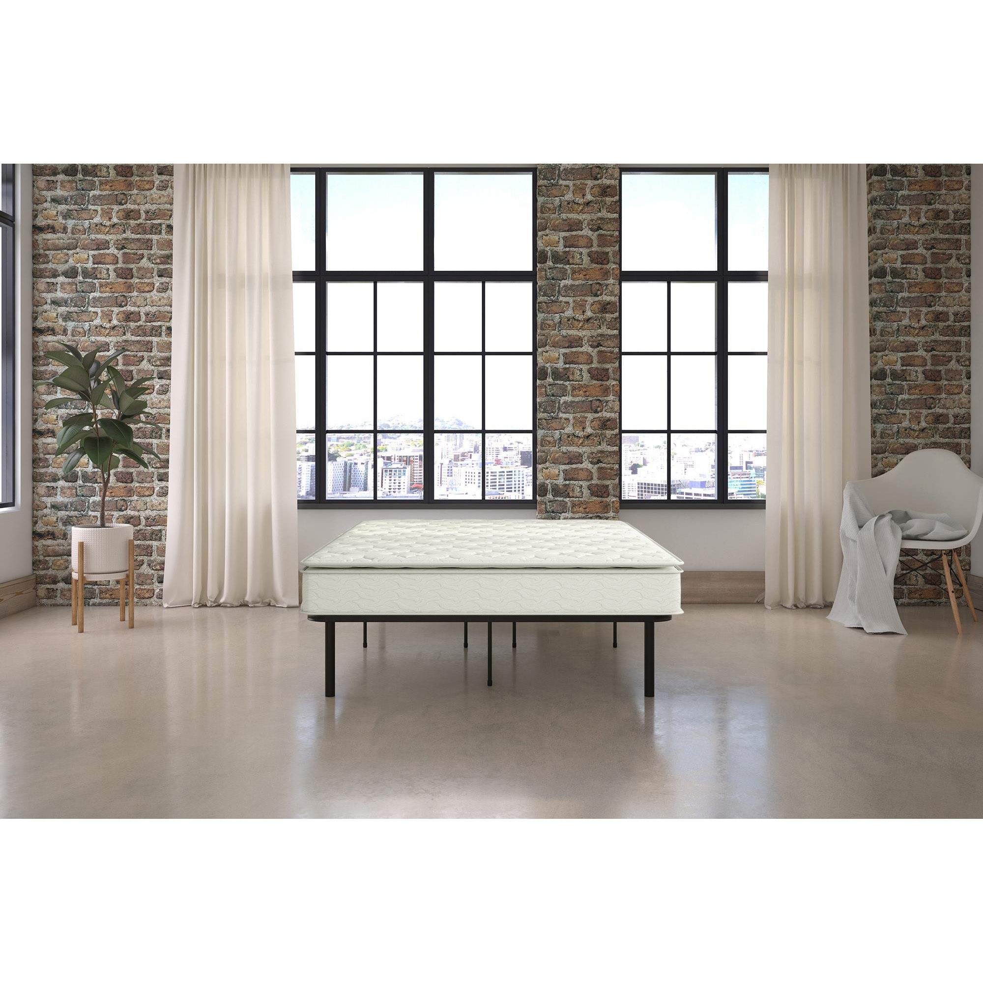 "Signature Sleep Gold Siesta 13"" Independently Encased Coil Pillow Top Mattress & Platform Bed with Euro Wood Slats: Full"
