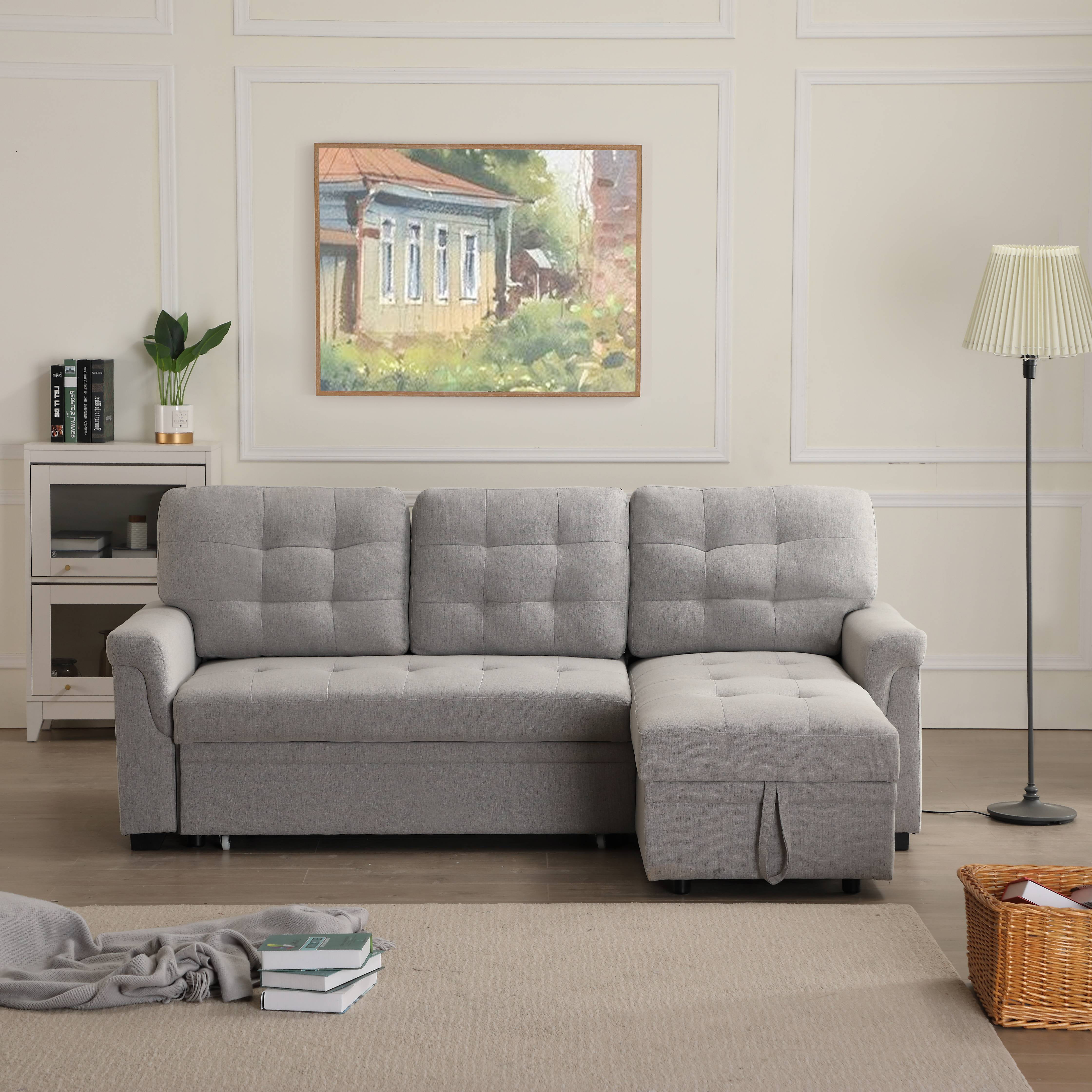 Picture of: Segmart Mid Century Modern Sofa Bed With Fold Out Twin Size Sleeper And Solid Frame 33 X 86 X 54 5 Upholstery Fabric Sectional Sofas Sleeper Bed With Solid Wood Frame 500lbs Grey S1749