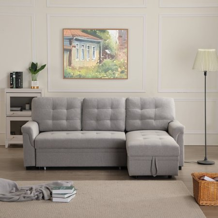 Modern Sectional Sofas Sets with Twin Size Sleeper, 33'' x 86'' x 54.5'' Upholstery Sleeper Contemporary Couch Soft Upholstery Sofa Beds, Chaise with Storage Function and Solid Frame, 500lbs, S1743