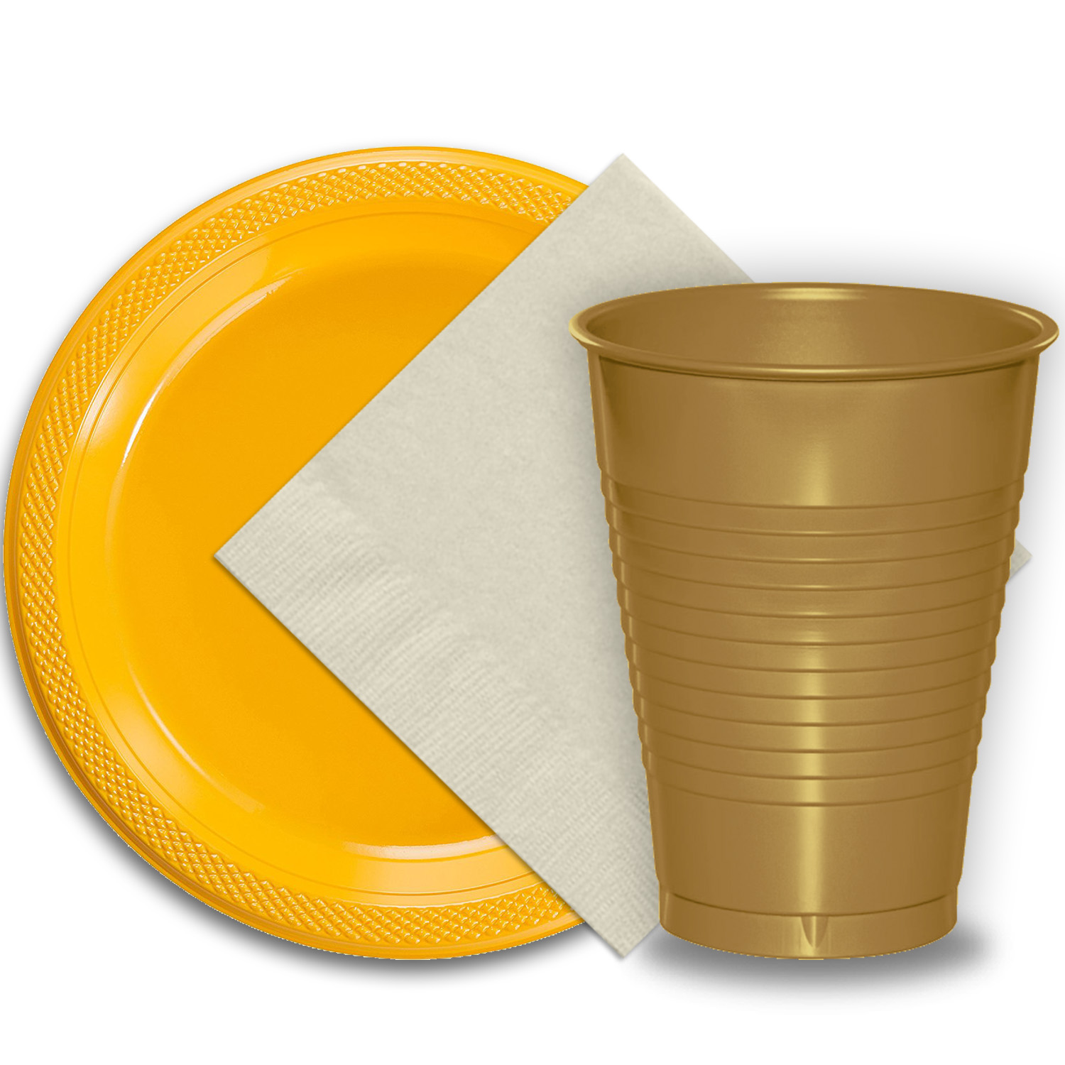 "50 Yellow Plastic Plates (9""), 50 Gold Plastic Cups (12 oz.), and 50 Ivory Paper Napkins, Dazzelling Colored Disposable Party Supplies Tableware Set for Fifty Guests."