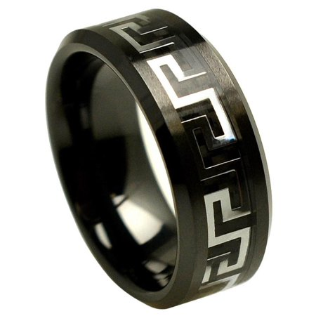 8 Mm Blank Guns (8mm Ceramic with Gun Metal Greek Key Over Black Carbon Fiber Inlay Wedding Band Ring For Men Or)