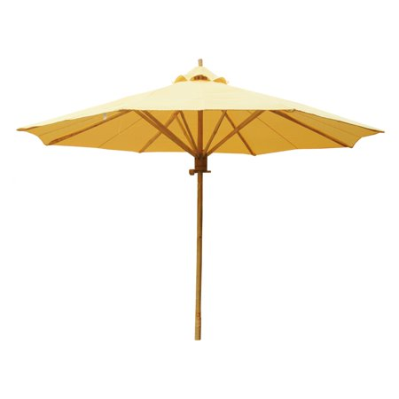 Zew 7 ft. Wooden Solid Market Umbrella with Base ()