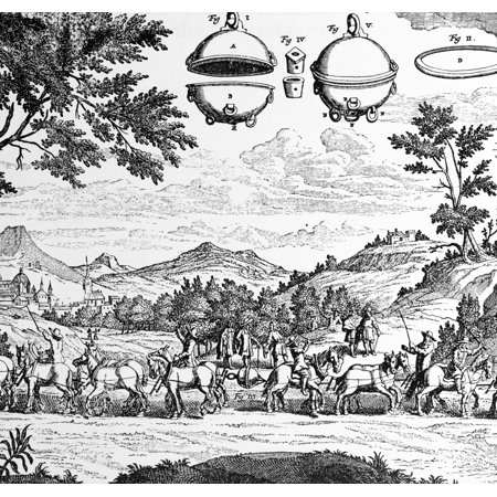 Magdeburg Hemispheres 17Th Century Rolled Canvas Art   Science Source  24 X 18