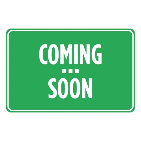 Coming Soon Green White Print Movie Tv Book Store Banner Poster Horizontal Business Office Sign