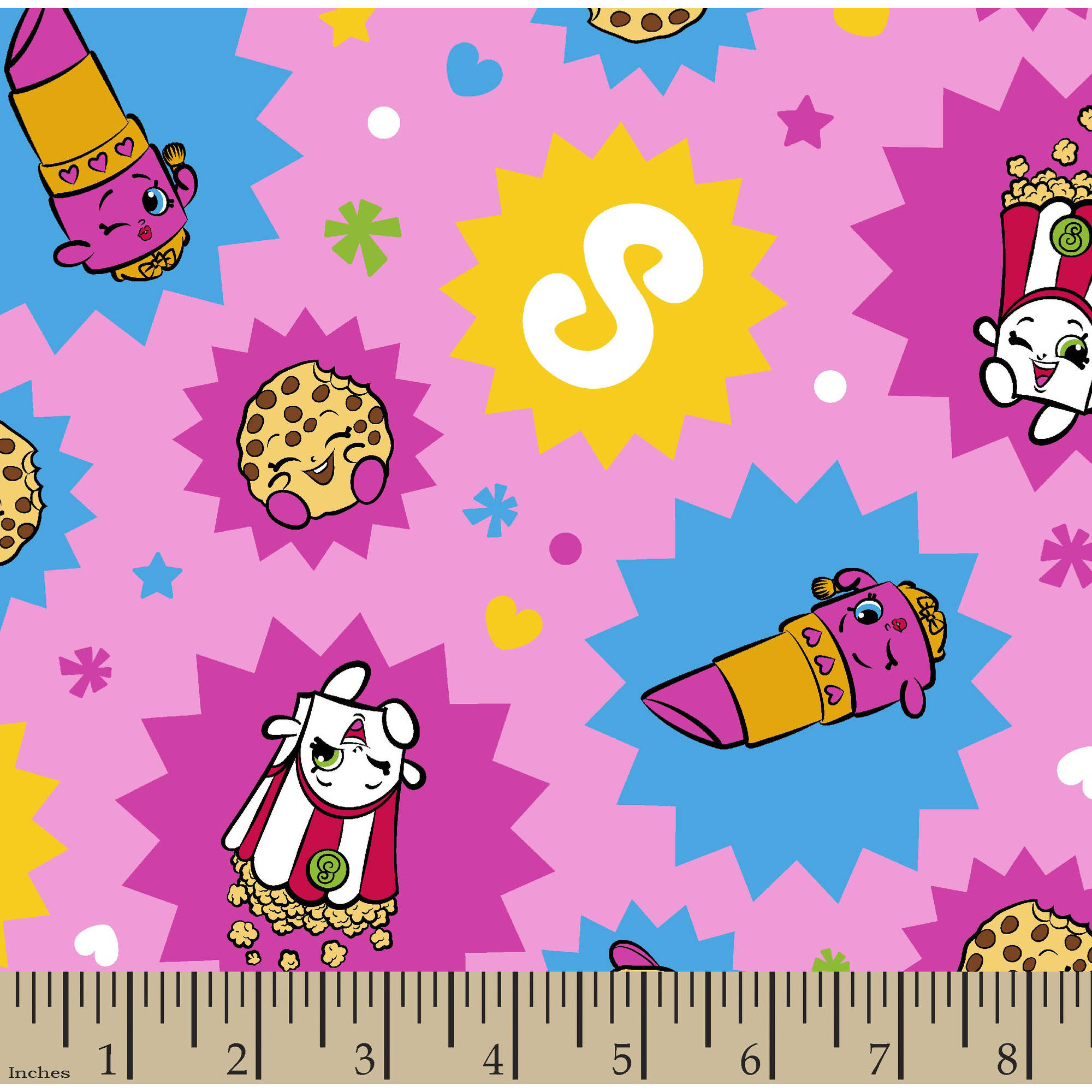 """Licensed Knits Shopkins Toss Fabric by the Yard, Multi, 58""""/59"""" Width"""