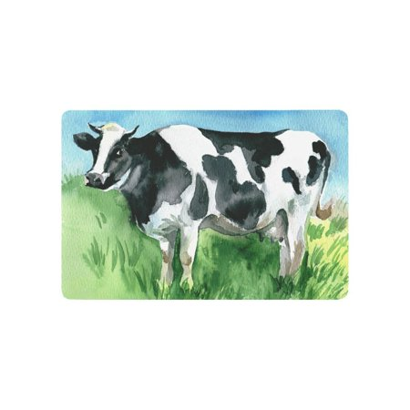 MKHERT Watercolor Dairy Cow Cattle Funny Animal Doormat Rug Home Decor Floor Mat Bath Mat 23.6x15.7 inch