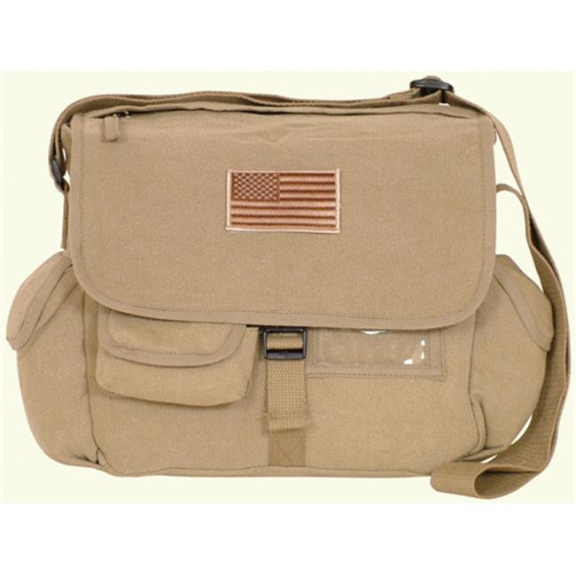 Fox Outdoor 43-076 Retro Messenger Bag With Usa Emblem - Khaki