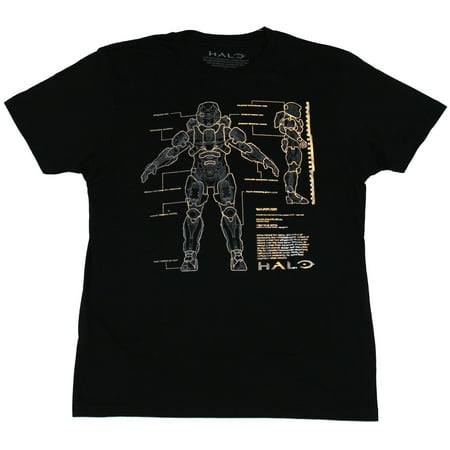 Halo Mens T-Shirt - Foil Printed Master Chief Suit Schematics Image for $<!---->