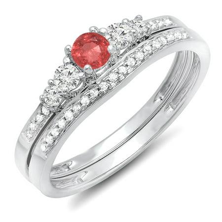 Dazzlingrock Collection 18K Round Ruby And White Diamond 5 Stone Bridal Engagement Ring Matching Band Set, White Gold, Size 7