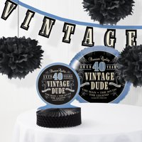 Vintage Dude 40th Birthday Decorations Kit