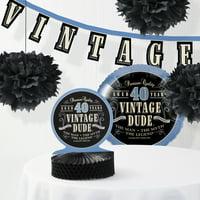 Vintage Dude 40th Birthday Decorations Kit