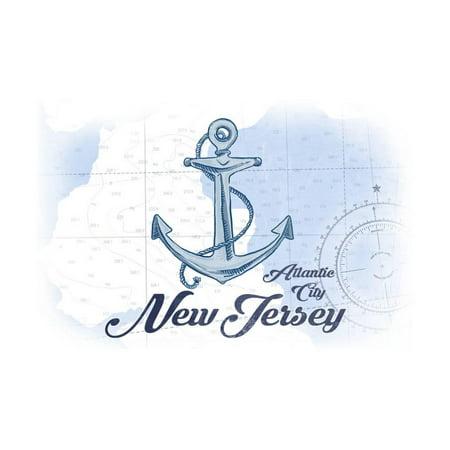 Atlantic City, New Jersey - Anchor - Blue - Coastal Icon Print Wall Art By Lantern - Party City In Jersey City