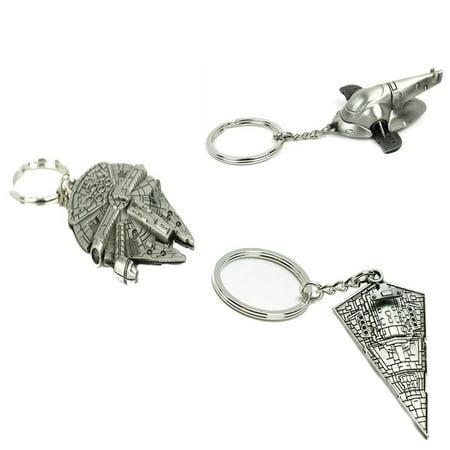 Star Wars Slaveship, Star Destroyer, Millennium Falcon Keychain Combo Gift Set, High Quality Metal Keychain By - Stars Wars Gifts