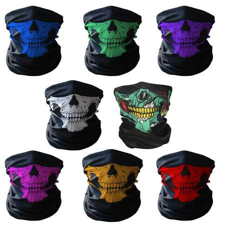 8 Color Bundle Pack! - Skull Tube Face Mask Festival Style Multi-Function Bandana Beanie Scarf Headband Motorcycle Sports Mask Rave Mask Outdoor Face Protection Rave Mask Value Pack!