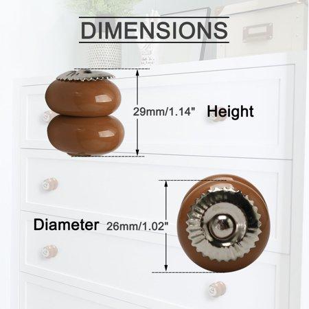 Ceramic Knobs Vintage Drawer Pull Handle Cupboard Wardrobe Cabinet 4pcs Brown - image 2 of 7