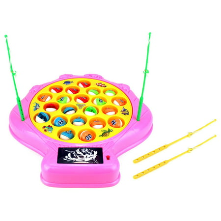 Deep Sea Shell Fishing Game for Children Battery Operated Rotating Novelty Toy Fishing Game Play Set w/ 21 Fishes, 4 Fishing Rods, Lights, Music (Pink) (Fishing Toys)