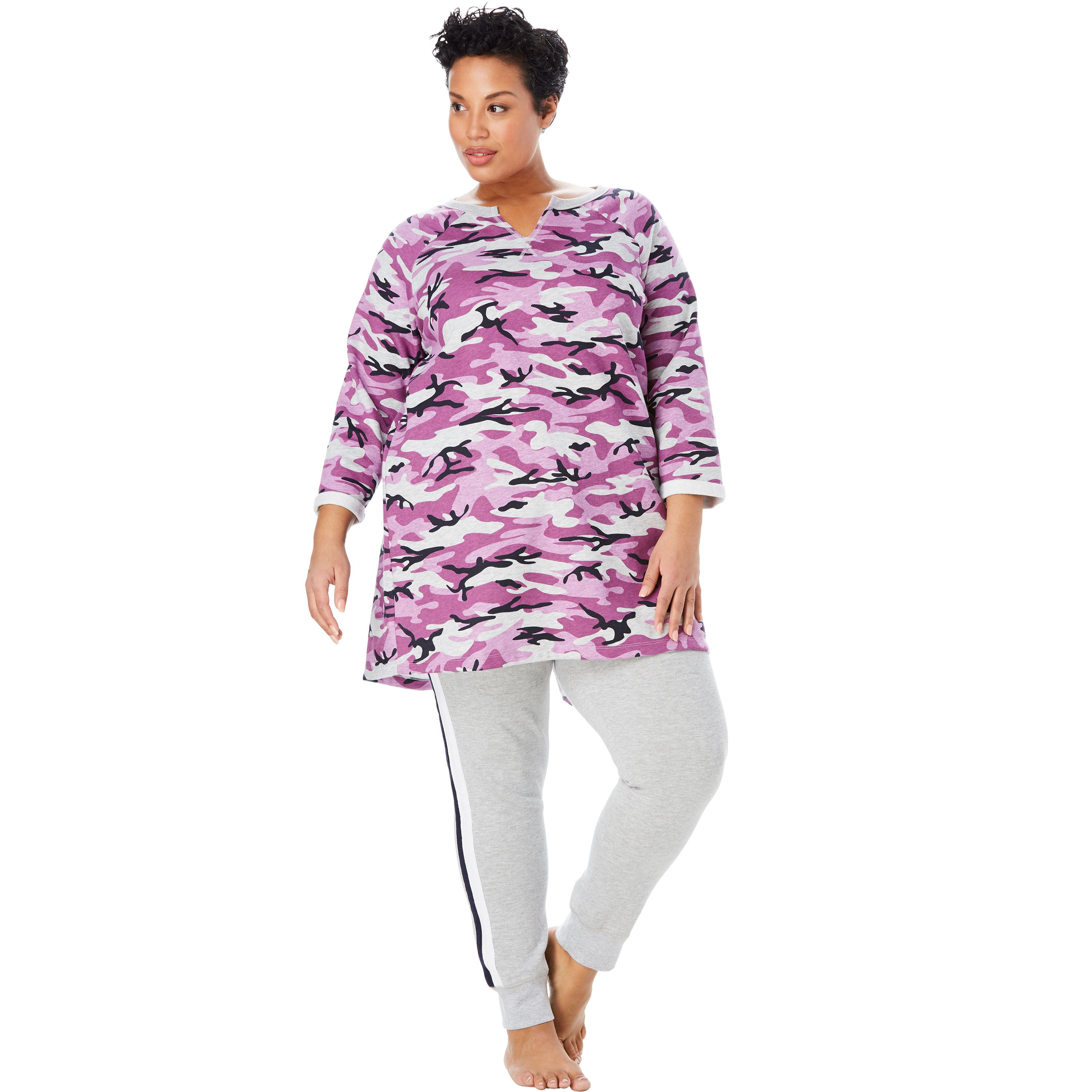 Plus Size Notch Neck Fleece High-low Sweatshirt By Dreams   Co. -  Walmart.com f48fedf04