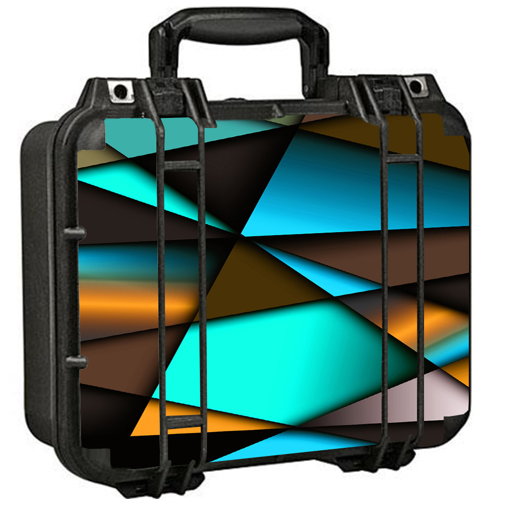 Skins Decals For Pelican 1400 Case / Awesome Blue Gold Pattern