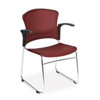 OFM Plastic Multi-Use Stack Chair with Arms, Wine, 4/Pack 845123049211