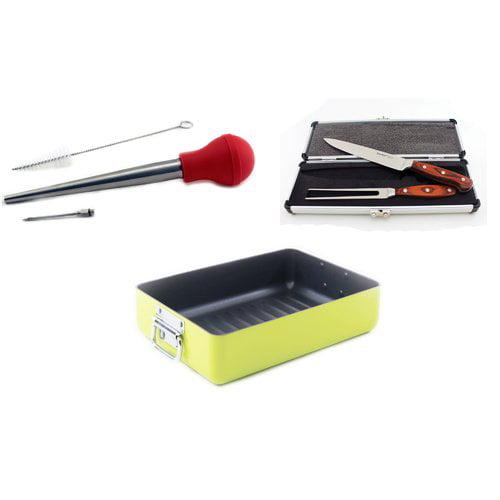 Eclipse 6pc Roasting Set: Lime Rstr, Pakka 2pc Crv Set & Baster Inj Set by BergHOFF