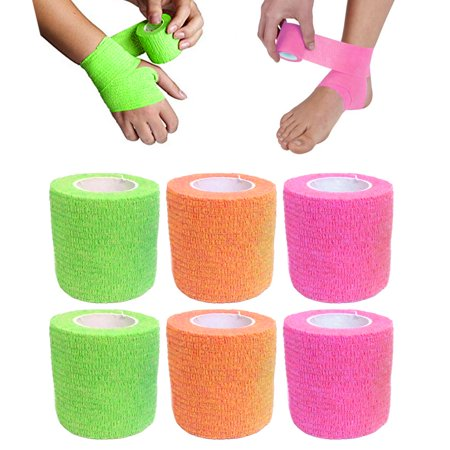 6 Self Adhesive Sports Wrap Bandage Gauze Elastic Adherent Tape First Aid