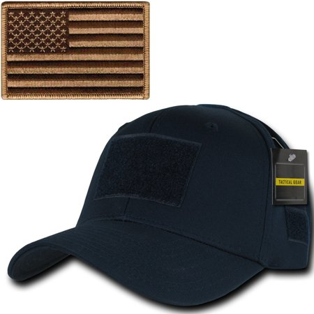 Ultimate Arms Gear Tactical Military Navy Blue Hat Cap Ballcap Headwear Adjustable Hook   Loop With 6 Velcro Attachment Points And Padded Sweatband   Coyote Tan Usa American Flag Patch