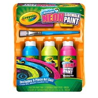 Crayola Washable Neon Sidewalk Paint, Outdoor Art Tools, 3 Neon Paint Colors, Paint Brush, Roller A