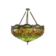 Meyda Tiffany - 30283 - Five Light Inverted Pendant - Tiffany Hanginghead Dragonfly - Antique-800pack