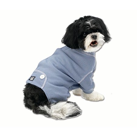 Cozy Thermal PJs Blue w/White Stitching, - Doggie Pjs