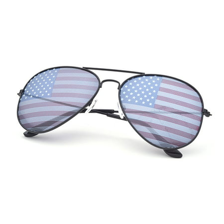 American USA Flag Design Metal Frame Aviator Unisex Sunglasses with Print Patterned Lens for Sun (Printed Sunglasses)