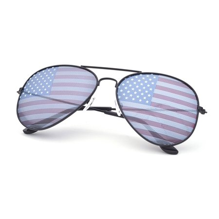 American USA Flag Design Metal Frame Aviator Unisex Sunglasses with Print Patterned Lens for Sun (Sunglasses With Printed Lenses)