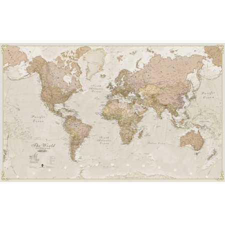- World Antique Megamap 1:20, Wall Map Giant Poster - 77.5x46