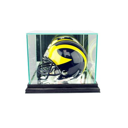 Perfect Cases - Mini Football Helmet Display Case, Black Finish Black Acrylic Football Display Case
