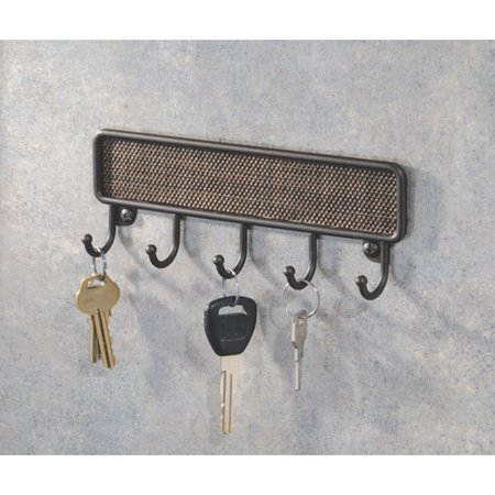 Interdesign twillo key rack organizer for entryway kitchen wall mount bronze - Key racks for wall ...