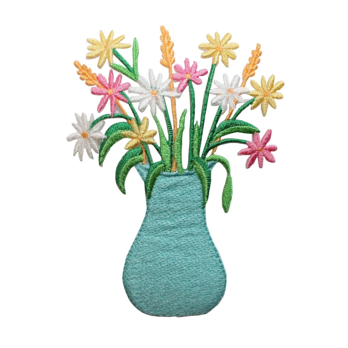 ID 7035 Colorful Flowers In Blue Vase Patch Daisy Embroidered Iron On Applique
