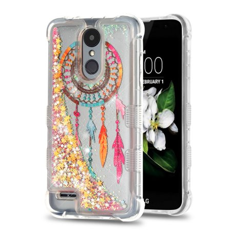 Rebel Floating - TUFF Liquid Floating Glitter Quicksand Waterfall Hybrid Silicone Gel Phone Protector Case - (Dreamcatcher / Gold Stars) and Atom Cloth for LG Rebel 3 4G LTE L157BL, L158VL