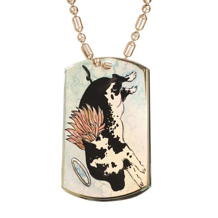KuzmarK Gold Pendant Dog Tag Necklace - Flying Angel Pig Animal Art by Denise Every Gold Dog Tag Necklace