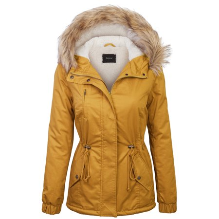 KOGMO Womens Sherpa Lined Zip Up Anorak Jacket Parka with Fur Hoodie (Fur Anorak)