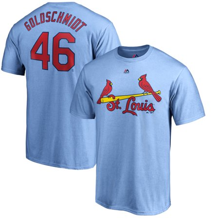 Paul Goldschmidt St. Louis Cardinals Majestic Official Name & Number T-Shirt - Light Blue
